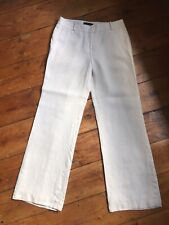Talbots Cream Linen Wide Leg Lined Trousers Size 8 (fits 10)