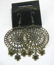 Wonderful gold tone metal statement style fan style earrings Accessories