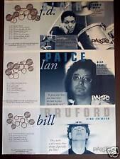 1999 vintage Ad Paiste Cymbals drummers Bill Bruford, Ian Paice, J.D. Blair