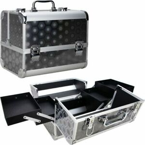 Makeup Train Case with 4 Extendable Trays and Key Lock Black Hexa Holographic