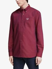 Fred Perry Long Sleeve Oxford Shirt Port BNWT Designer Men's Clothing Tops