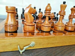 Vintage Soviet Chess Completely wooden Set USSR Wooden Box Original Authentic