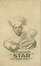 1909 Chicago Illinois Armour Meat Ham Advertising Chef Carving RPPC Postcard