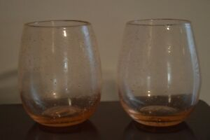 Two Pink Glass Tumblers