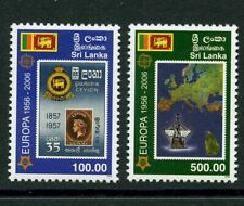 Europa 50 years mnh set 2 stamps 2006 Sri Lanka #1539-40 Ship Map Stamp-on-Stamp