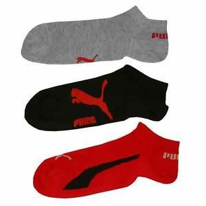 Puma 3-Pack Kids Trainer Socks, Black/Grey/Red