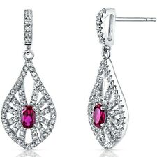 14K White Gold Created Ruby Chandelier Earrings 0.50 ct