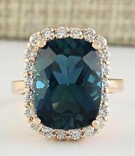 14.46 Carat Natural Topaz 14K Rose Gold Diamond Ring