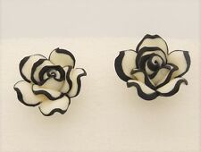 Large Black & White Rose Flower Earrings Ladies Fashion Jewellery Silver Plated