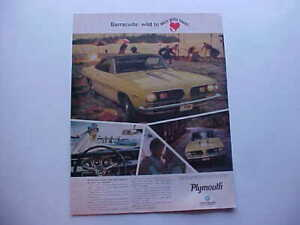 1967 Plymouth BARRACUDA--LARGE full-color vintage '67 Mopar ad from nice estate