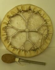 NATIVE AMERICAN HAND DRUM BUFFALO HIDE FRAME DRUM 12 INCHES ,\. WITH BEATER-->