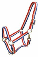Showman Single Ply RED, WHITE & BLUE Striped Nylon Horse Halter! NEW HORSE TACK!