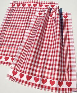 2x Geschirrtücher Herzen Kracht Küche Jaquard Halb Leinen Herz Karo Rot Weiß