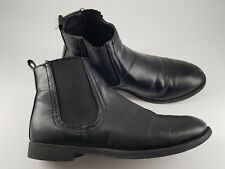 Size 4 (37) black faux leather elastic side panel Chelsea ankle boots