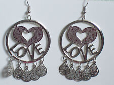 Silver Love Heart Hoop Clip on Earrings