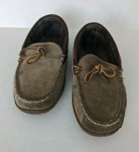 LL Bean Men's Handsewn Suede Flannel Lined Slippers Size 11 M Brown