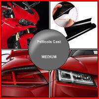 Pellicola Adesiva Fari Stop Autovetture Moto 50X100cm Nero Medio Fume Smoke
