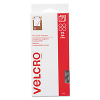 Velcro Sticky-Back Hook and Loop Fasteners 5/8 Inch Diameter Clear 75/Pack 91302
