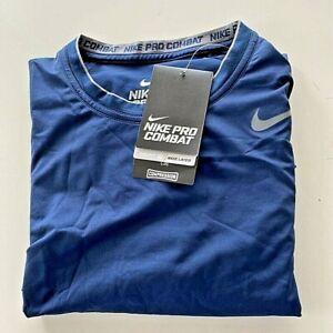 Nike Mens Pro Combat Compression Dri Fit T Shirt Blue Crew Neck Stretch L New