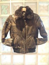 Pepe Jeans Rosi Women's Brown Leather Bomber Aviator Jacket, Small, Vintage 8-10