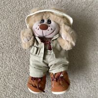 """Trappers Vintage Plush Teddy Bear 11"""" Dressed Safari Outfit Stuffed Animal"""