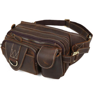 gents real leather waist bag sling bag belt pack small sports running bum bag