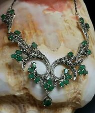 ⭐NEW STERLING SILVER 10 CARAT  EMERALD MARCASITE COCKTAIL GEMSTONE PAVE NECKLACE
