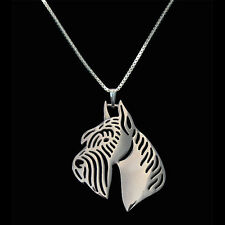 Artistic Silver Plated Standard Schnauzer Dog Charm Necklace Pendant Gift