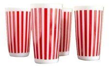 "SET OF 4 Hazel Atlas Red Candy Stripe Milk Glass Tumbler 5.25"""