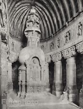 1928 Original INDIA Ajanta Cave Buddha Statue Architecture Photo By HURLIMANN