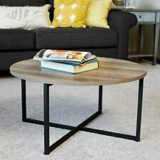 Ashwood Light Wood Round Coffee Table Living Room Metal Frame Storage Furniture