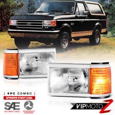1987-1991 Ford F150 F250 F350 Bronco Headlights Headlamps Left Right Corner Pair
