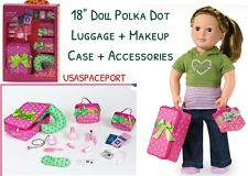 "18"" Doll Pink Polka Dot LUGGAGE SET Suitcase for American Girl Our Generation"