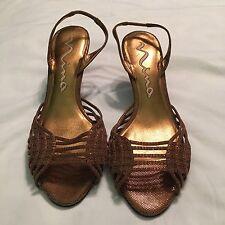 76de7ab6aba NINA Women s Strappy Sandals Heels Leather Metallic Bronze 9M reduced