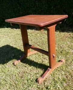 A Small Oak Arts And Crafts Style Pegged  Side, Hall Table