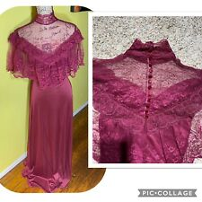Vintage 70s Victorian Edwardian HIGH NECK Lace Dress UNION MADE RASPBERRY Gown