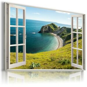 Purbeck Heritage Coast  SEA 3D Window View Canvas Wall Art  W81 UNFRAMED-ROLLED