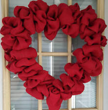 Red Heart Burlap Wreath Valentine Day Outdoor 16 In