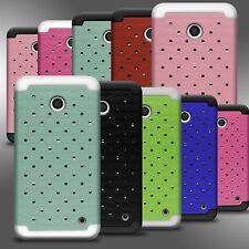For Nokia Lumia 635 Dual Layer Hybrid Armor Diamond Bling Cover Case