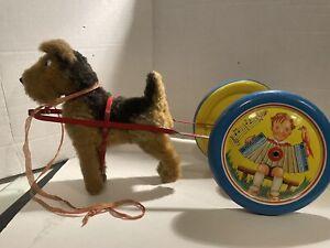 Vintage W. Germany Tin Pull Toy W/ Dog ! NICE!