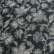"""Cotton Jersey Stretch Black White Floral Print Soft Dress Fabric 58"""" By Meter"""