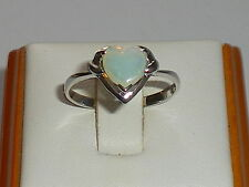 Ladies Sterling 925 Solid Fine Silver Heart Cut Natural Australian Opal Ring