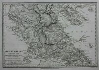 ANCIENT NORTHERN GREECE, ILLYRIA, THESSALY, original antique map, SDUK, 1844