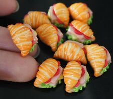 Handcrafted 10 Piece Dollhouse miniature Puff Pastry Ham & Cheese Fast Food Deco