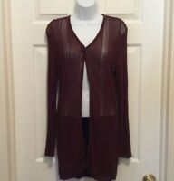 Elements by Escada Cardigan Brown 34 Semi-Sheer Knit Long Sleeve Single Button