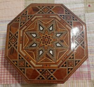 Vintage Handmade Wooden MOTHER OF PEARL Shell Inlay Trinket Jewelry Box Boho
