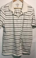 St Johns Bay Mens Polo Short Sleeve Casual Shirt White Stripe Size Large