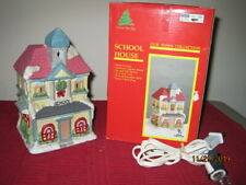 Christmas Lighted Porcelain House, Our Town Collection, School House