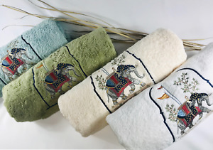 High End Embroidered Turkish Cotton Towel - Elephant Design - Multiple Colors