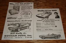 Original 1968 1969 Ford Shelby GT 350 500 Sales Specification Sheet Lot of 2